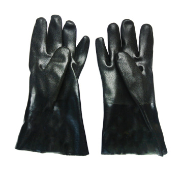 Black PVC dipped gloves jersey liner sandy finish