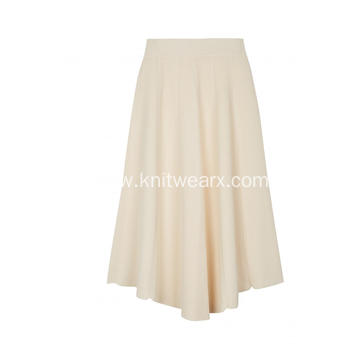 Women's Knitted Elastic Waist Pleated Wide Skirt