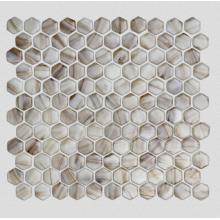 Brown Tans Hexagonal Hot Melt Glass Mosaic Tile