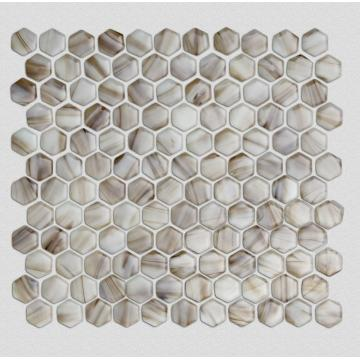Brown Hexagonal Glass Mosaic Tiles For Shower Room