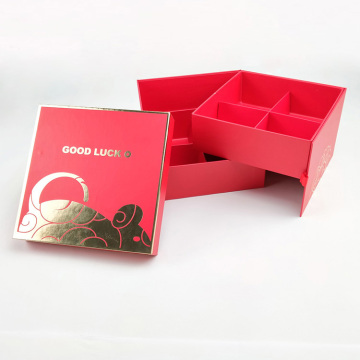 Red color paper cardboard gift cookie box