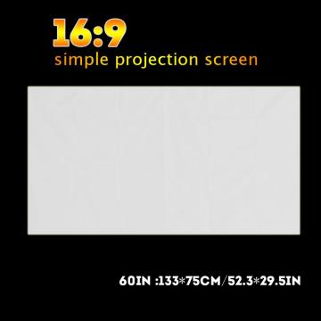 hologram 60-120 Inch Portable White Color Projector Curtain Projection Screen 16:9 pantalla proyector electrica Curtain