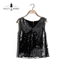 Summer Vogue Casual Short Deep V-neck Sleeveless Girls Sequins Black Vest Top