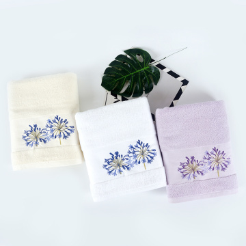 light purple satin gear embroidery woven bath towel