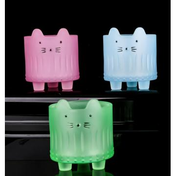 Cute cat fact shaped glass candle jar for sale