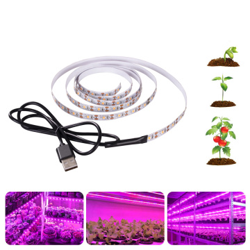 LED Grow Light Full Spectrum DC5V USB Grow Strip 0.5m 1m 1.5m 2m 2.5m 2835 SMD LED Phyto Tape for Seed Plants Flowers Greenhouse