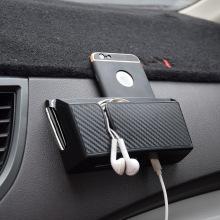Car Storage Box Carbon Fiber Grain Paste Type Mobile Phone Holder Car Organizer Stowing Tidying Storage Box Car Styling