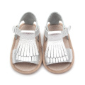 Silver Color Newborn Baby Moccasin Sandals
