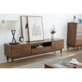 Madilim na Goma TV Stand Drawer Doors Bronze Leg