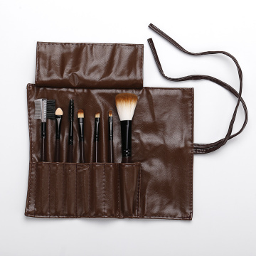 Brown pu bag with 7 makeup brushes