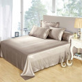 6pcs Silk Bedding Set Flat Fitted Sheet 4Pillowcases