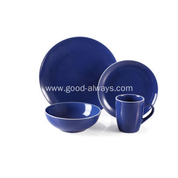 16 Piece Stoneware Dinner Set Royal Blue Color With White Rim
