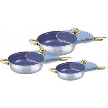 Pop blue mable coating 6pcs frypan