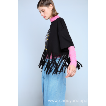 LADIES T-SHIRT WITH TASSELS