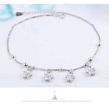 FUN-BEAUTY S925 Sterling Silver Women's Anklet Korean Fashion Small Fresh Cherry Blossom Anklet Wild Simple Round Bead Box Chain