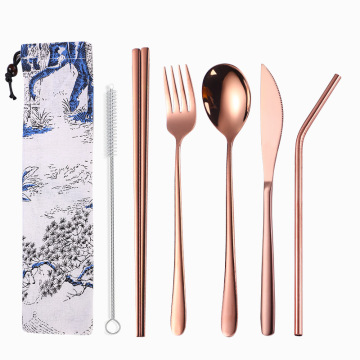 Travel reusable utensils flatware stainless straw set