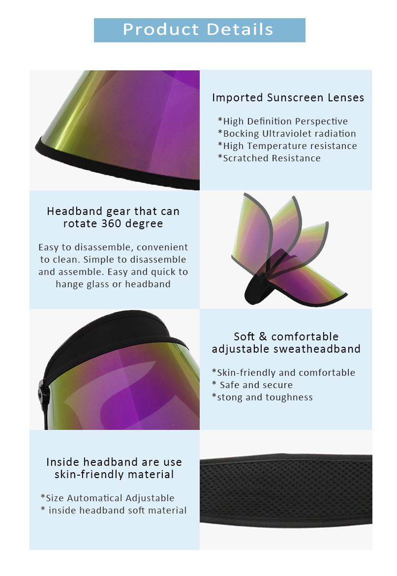 Purple Sun Visor Face Shield Supplier Sun Visor