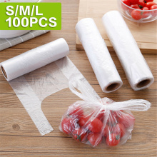 100 Pcs Roll Disposable Vest Design Food Storage Grip Seal Bag Saver Saran Wrap Plastic Bags Home Kitchen Organization New