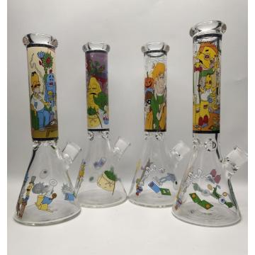 Super Thick Glass Beaker Bongs with Cartoon Smoker