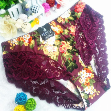 China wholesale new style printed floral dark purple sexy briefs xxx lace spandex fancy panty 6893