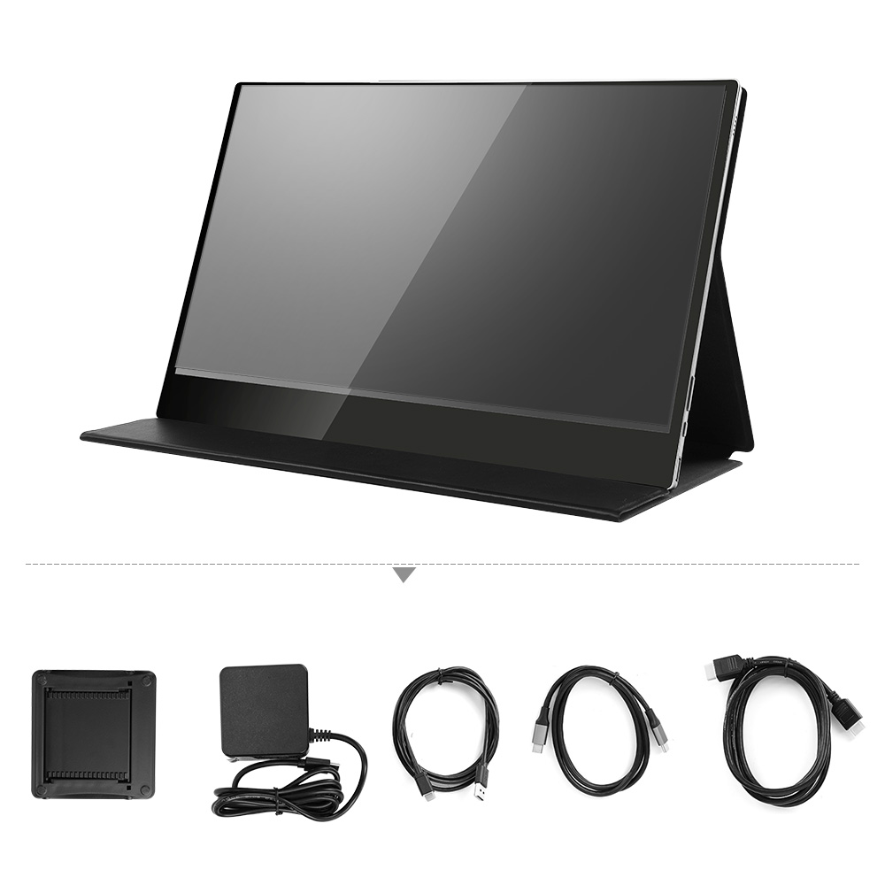 """Eyoyo Touch Screen HDR Portable Monitor 4K UHD 3840x2160 IPS 15.6"""" Display Gaming monitor Rechargeable Battery with Leather Case"""