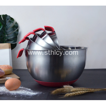 Stainless Steel Bowl With Pouring Spouts And Handles
