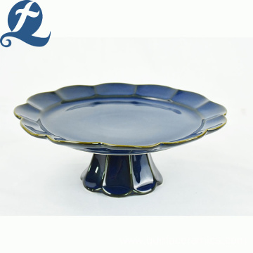 China Factory Custom Ceramic Blue High-legged Hemming Cake Pan