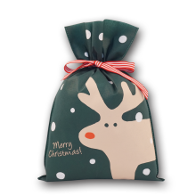 Cheap Santa Deer Pattern Green Christmas Gift Bag