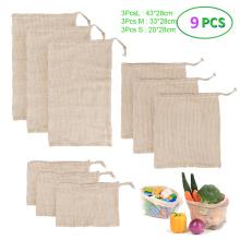 9Pcs Reusable Cotton Mesh Bag Kitchen Fruit Vegetable Produce Bags Home Storage Bags Organizer Washable Cotton Shopping Bag