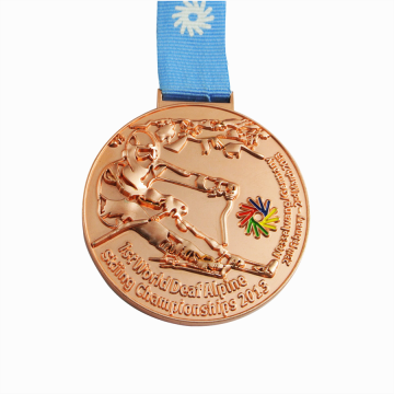 Own design diecast copper skiing medals