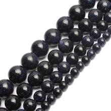 Natural Dark Blue Sandstone Beads Loose Stone Round Sitara Stars Beads for DIY Jewelry Making 4 6 8 10 12mm