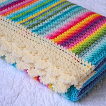 Colorful Cotton Crochet Baby Blanket Pattern
