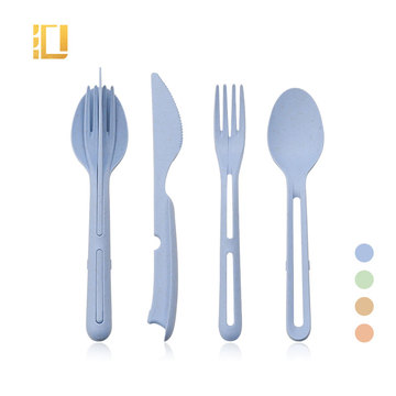 Biodegradable Reusable Travel Wheat Straw Cutlery Set