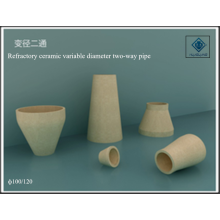 Variable diameter two-way pipe ceramic refractory