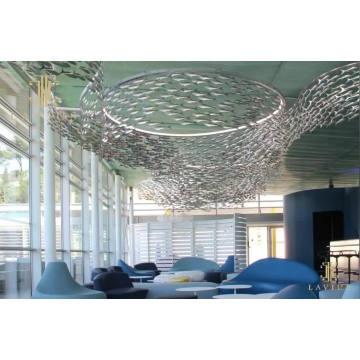Fish shaped rotate decorative glass led chandelier light