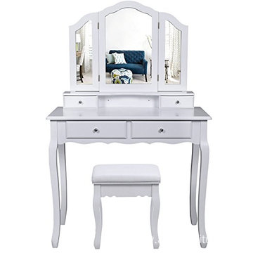 White Makeup Vanity mirrored Dressing Table with Trifold Mirror Set 4 Drawers for Women