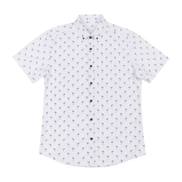 Men's woven cotton Short-Sleeve shirt