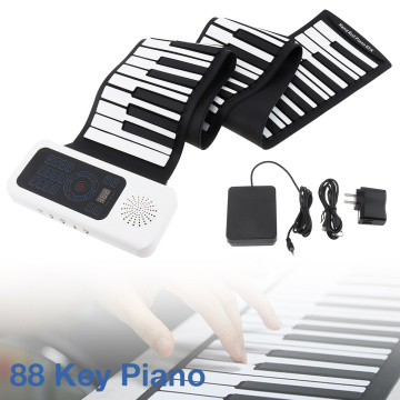 88 Keys USB MIDI Electronic Roll Up Piano Portable Silicone Flexible Keyboard Organ Sustain Pedal Built-in Speaker
