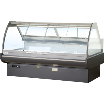 Sliding curved glass serve over deli refrigerator counter