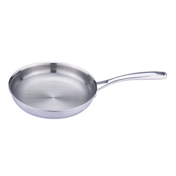 Embossed patten stainless steel frying pan cooking pan