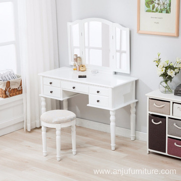White Tri Folding Mirror Vanity Makeup Table Dressing Desk with Dresser Stool