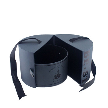 Special Open Navy Blue Cardboard Round Box Ribbon