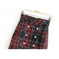 Woolen Multi Plaid A-line Mini Short Womem