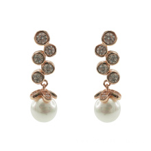 Elegant 925 Sterling Silver Dangle Earrings with Pearl