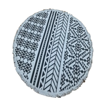 blue round colored blanket rainbow beach towel