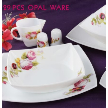 29 Head Milky White Glass Tableware With Dishes