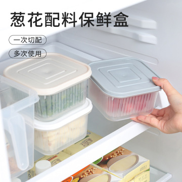 Fresh-Keeping Box Ginger Garlic Onion Storage Box Portable round Plastic Transparent Draining Freshness Bowl Refrigerator Seal