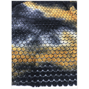 Poly sheril tie dyed knitted fabric