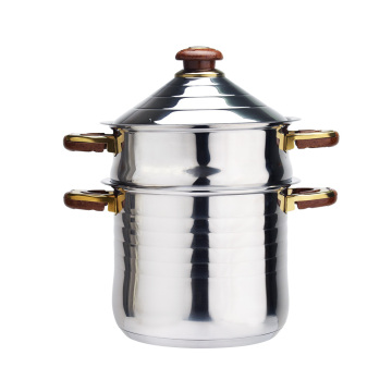 Stainless steel soup pot with steamer pot