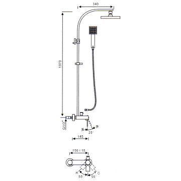 Square head exposed shower system with tub faucet